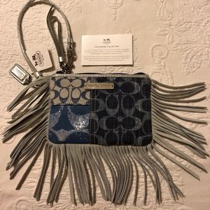 Authentic Coach Poppy Denim Patchwork Wristlet NWT